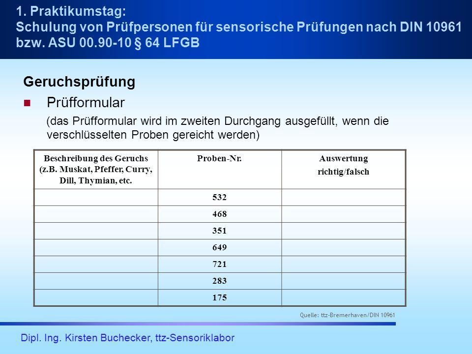 Dipl. Ing. Kirsten Buchecker, ttz-Sensoriklabor Geruchsprüfung Prüfformular (das Prüfformular wird im zweiten Durchgang ausgefüllt, wenn die verschlüs