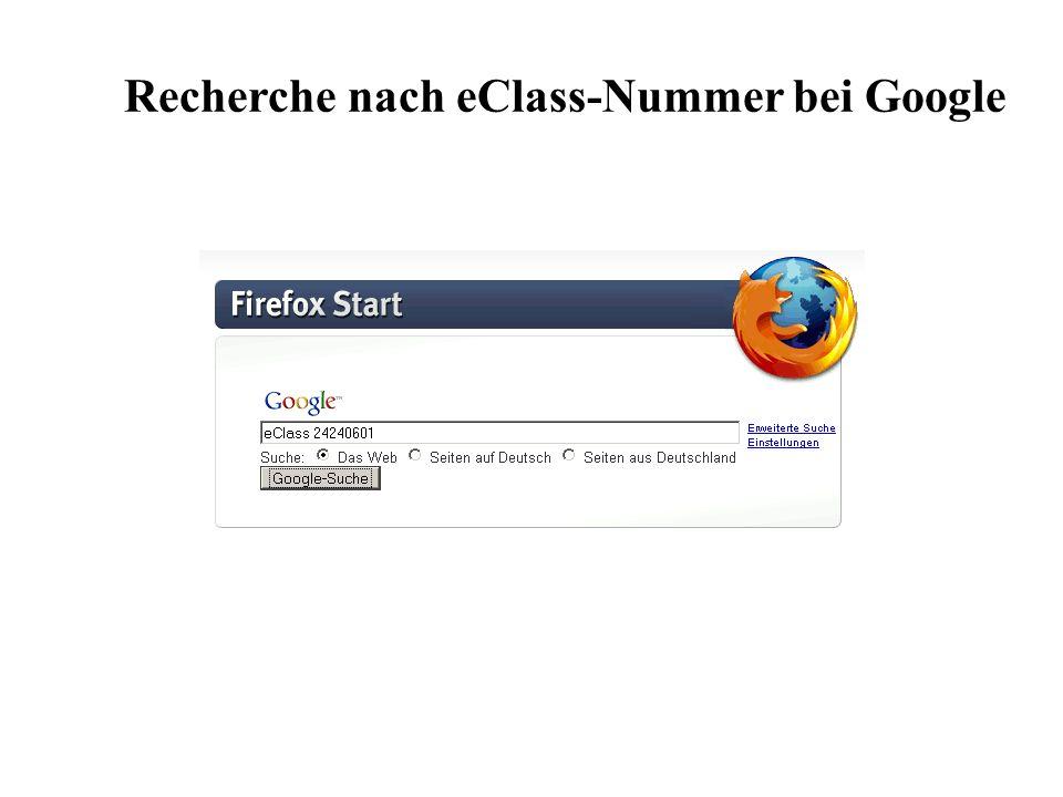 Recherche nach eClass-Nummer bei Google