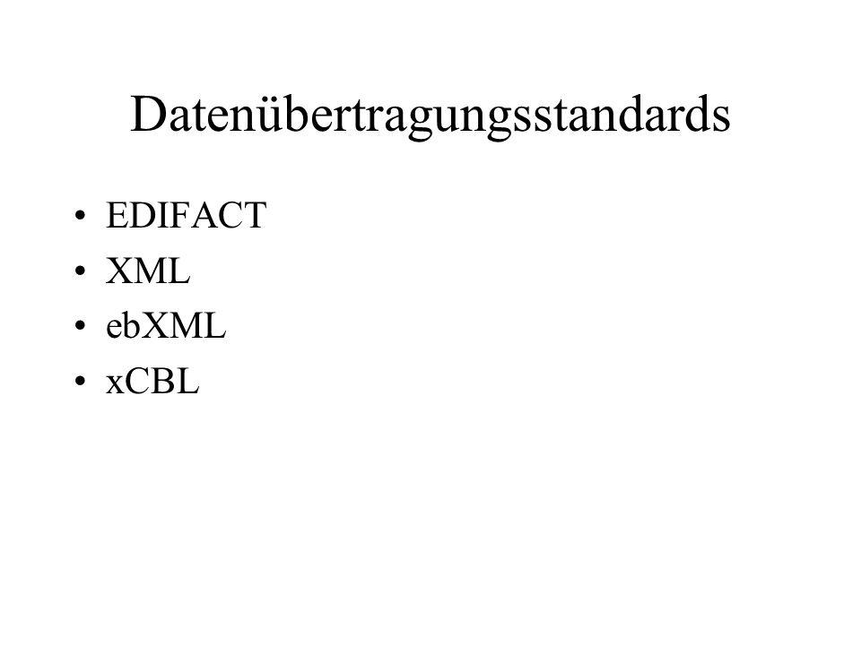 Datenübertragungsstandards EDIFACT XML ebXML xCBL