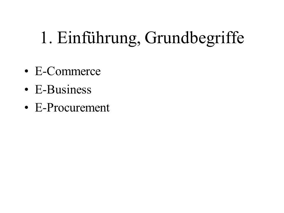 1. Einführung, Grundbegriffe E-Commerce E-Business E-Procurement