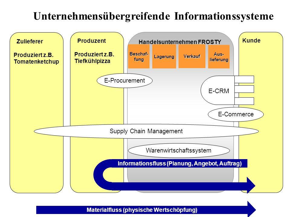 Handelsunternehmen FROSTY Kunde ProduzentProduziert z.B.Tiefkühlpizza Beschaf-fungLagerungVerkauf Informationsfluss (Planung, Angebot, Auftrag) Aus- l