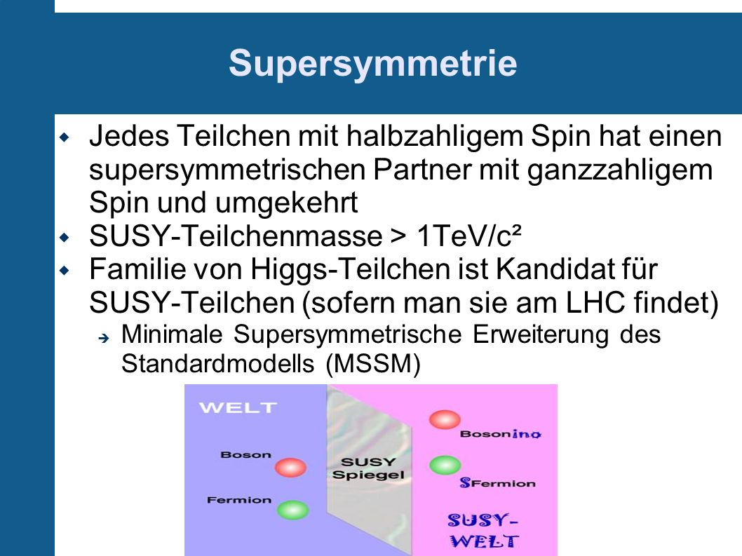 Supersymmetrie Jedes Teilchen mit halbzahligem Spin hat einen supersymmetrischen Partner mit ganzzahligem Spin und umgekehrt SUSY-Teilchenmasse > 1TeV