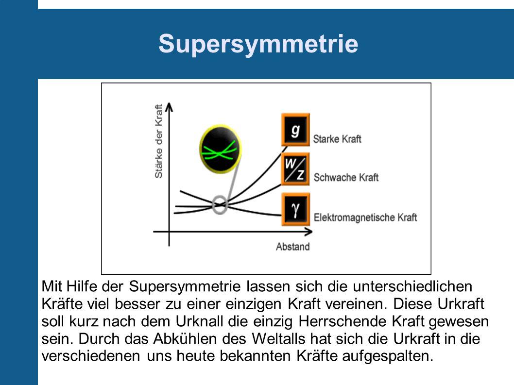 Supersymmetrie Mit Hilfe der Supersymmetrie lassen sich die unterschiedlichen Kräfte viel besser zu einer einzigen Kraft vereinen. Diese Urkraft soll