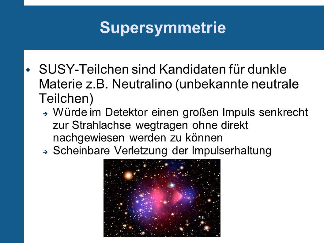 Supersymmetrie SUSY-Teilchen sind Kandidaten für dunkle Materie z.B. Neutralino (unbekannte neutrale Teilchen) Würde im Detektor einen großen Impuls s
