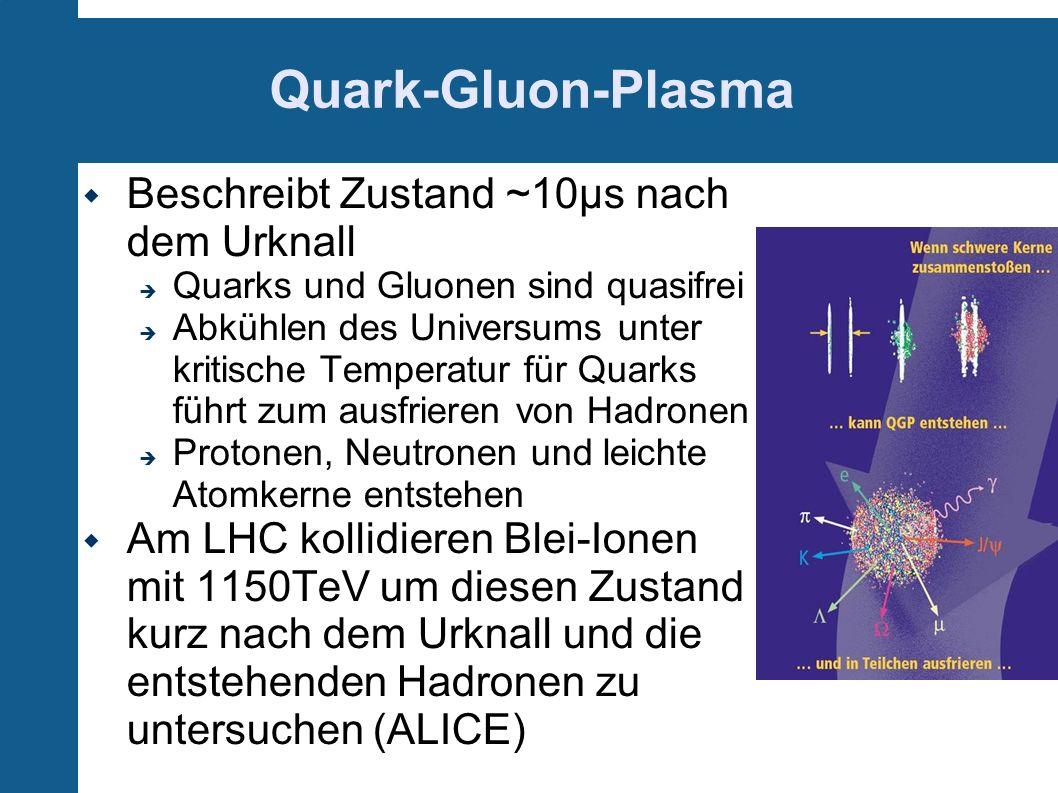 Beschreibt Zustand ~10µs nach dem Urknall Quarks und Gluonen sind quasifrei Abkühlen des Universums unter kritische Temperatur für Quarks führt zum au