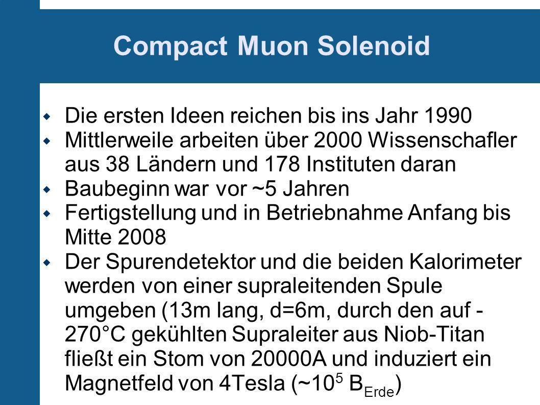 Compact Muon Solenoid Die ersten Ideen reichen bis ins Jahr 1990 Mittlerweile arbeiten über 2000 Wissenschafler aus 38 Ländern und 178 Instituten dara