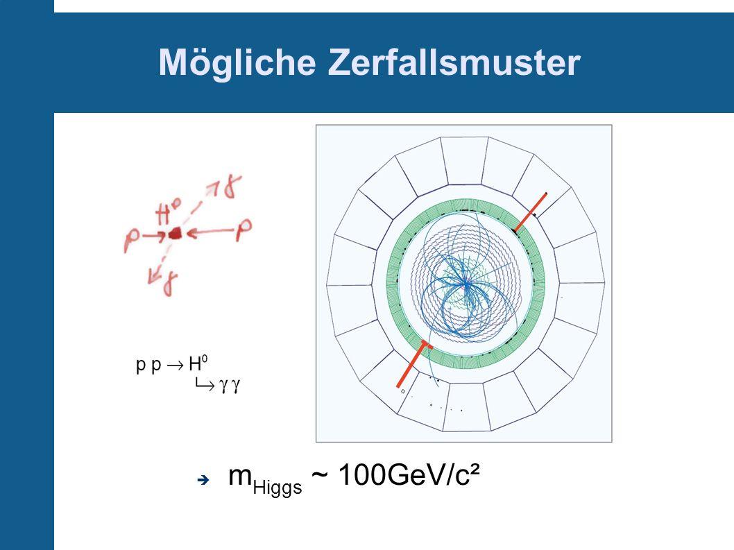 Mögliche Zerfallsmuster m Higgs ~ 100GeV/c²