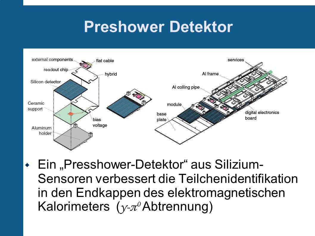 Preshower Detektor Ein Presshower-Detektor aus Silizium- Sensoren verbessert die Teilchenidentifikation in den Endkappen des elektromagnetischen Kalor