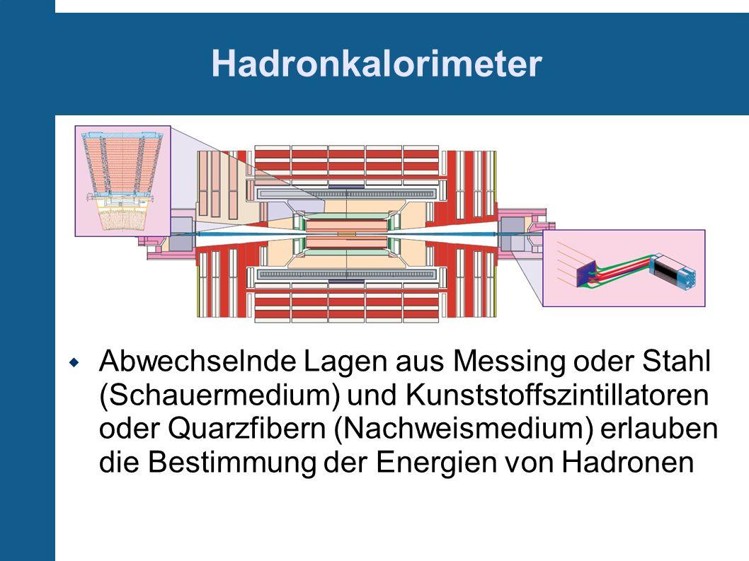 Hadronkalorimeter Abwechselnde Lagen aus Messing oder Stahl (Schauermedium) und Kunststoffszintillatoren oder Quarzfibern (Nachweismedium) erlauben di