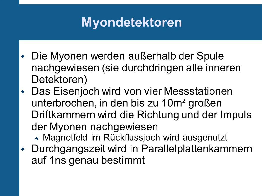 Myondetektoren Die Myonen werden außerhalb der Spule nachgewiesen (sie durchdringen alle inneren Detektoren) Das Eisenjoch wird von vier Messstationen