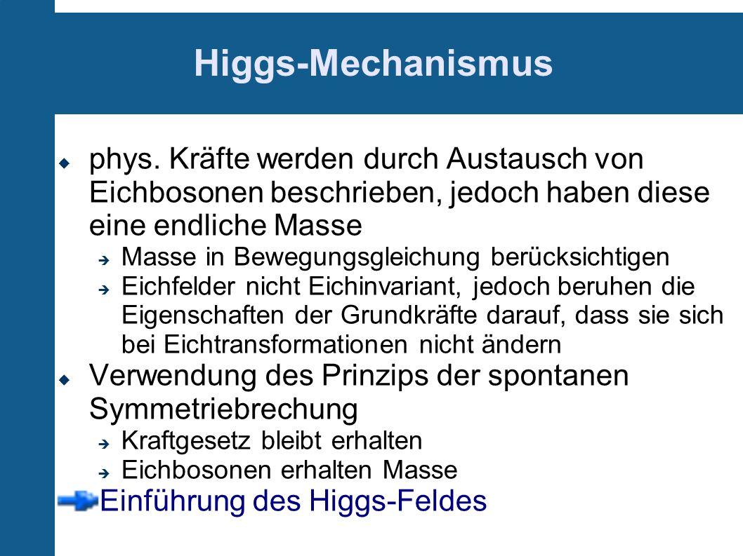 Higgs-Mechanismus phys. Kräfte werden durch Austausch von Eichbosonen beschrieben, jedoch haben diese eine endliche Masse Masse in Bewegungsgleichung