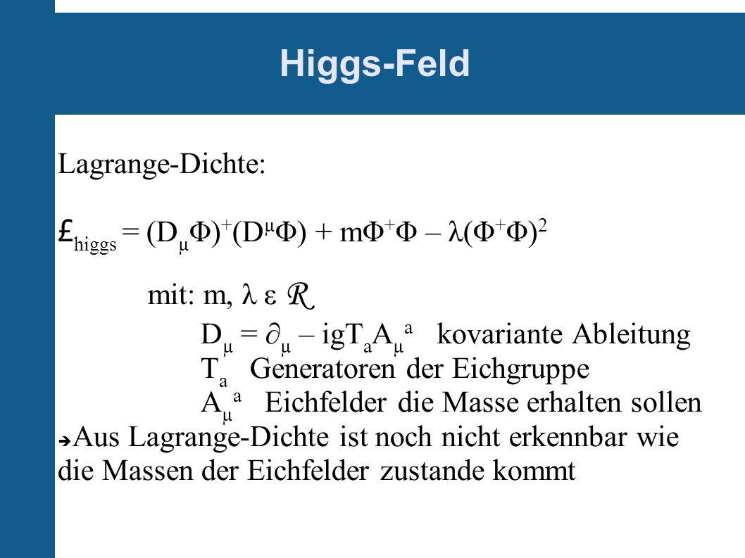 Higgs-Feld Lagrange-Dichte: £ higgs = (D µ Φ) + (D µ Φ) + mΦ + Φ – λ(Φ + Φ) 2 mit: m, λ ε R D µ = µ – igT a A µ a kovariante Ableitung T a Generatoren