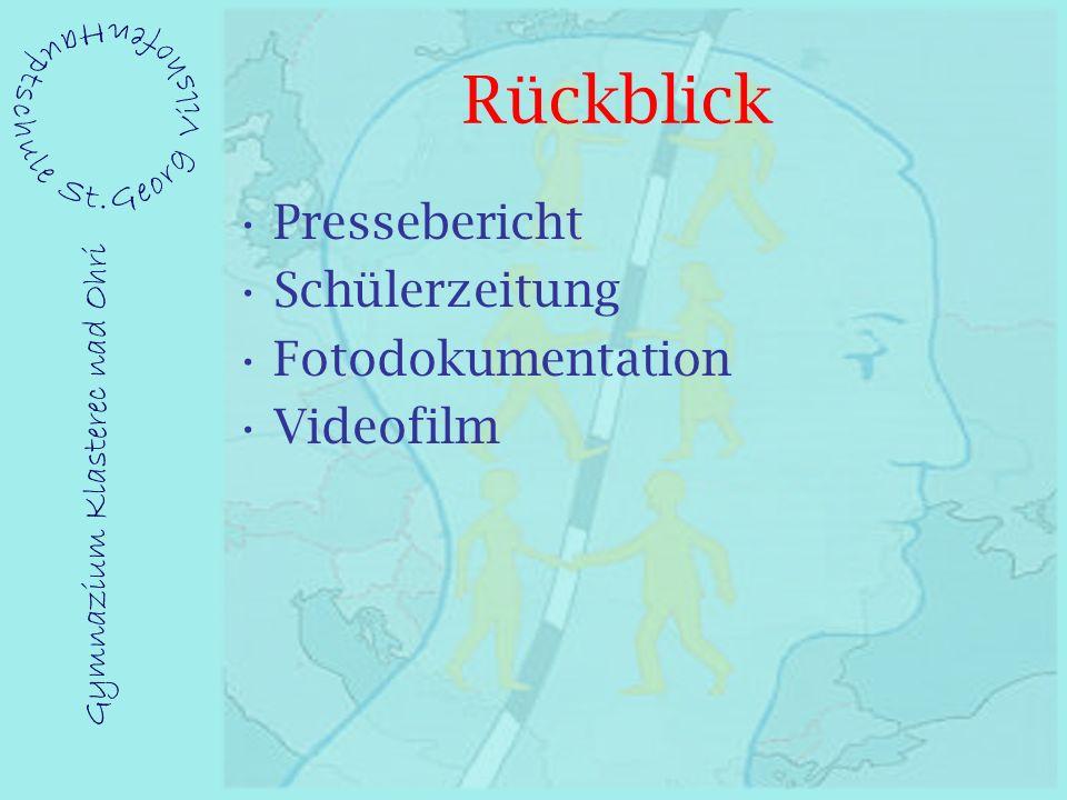 Rückblick Pressebericht Schülerzeitung Fotodokumentation Videofilm