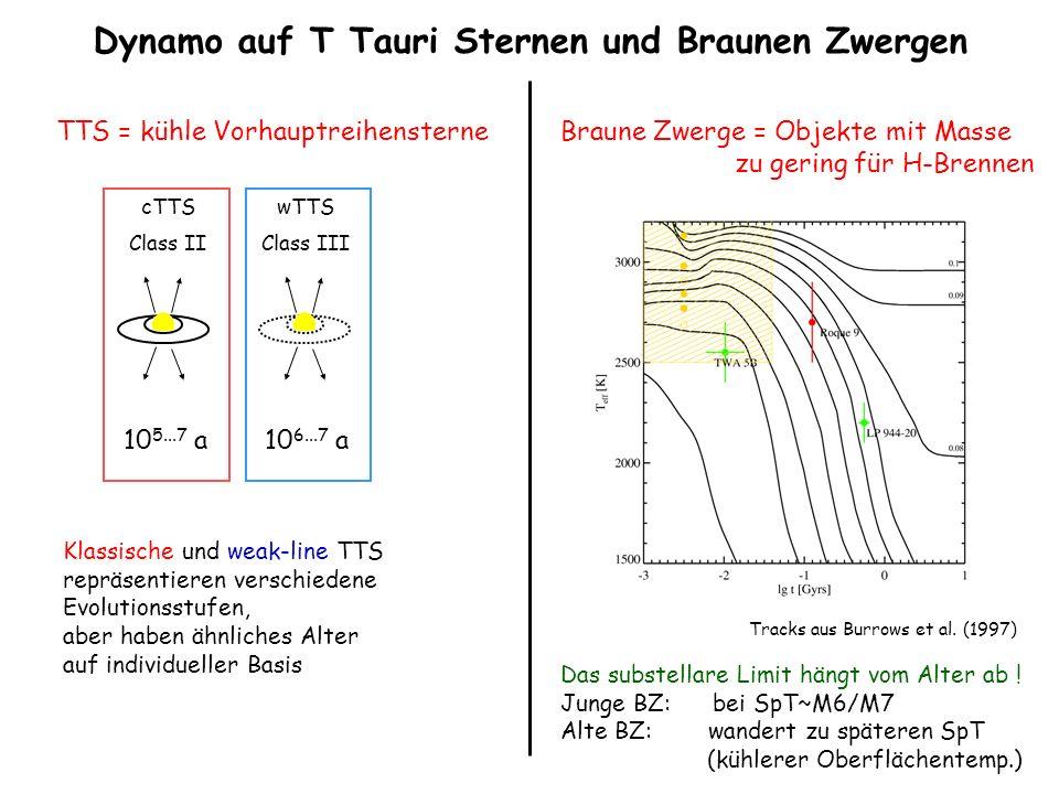 Dynamo auf T Tauri Sternen und Braunen Zwergen cTTS Class II wTTS Class III 10 5...7 a10 6...7 a Klassische und weak-line TTS repräsentieren verschied