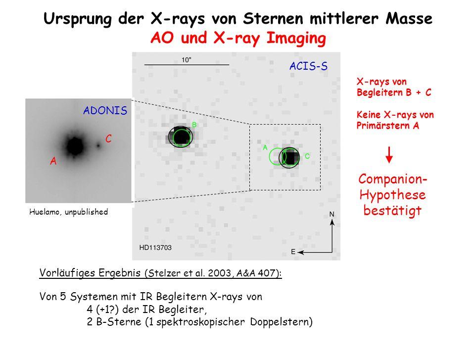 X-rays von Begleitern B + C Keine X-rays von Primärstern A Vorläufiges Ergebnis (Stelzer et al. 2003, A&A 407): Von 5 Systemen mit IR Begleitern X-ray