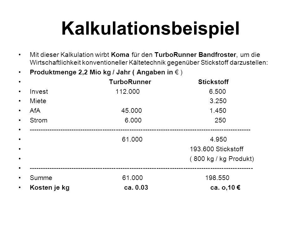 Kalkulationsbeispiel Mit dieser Kalkulation wirbt Koma für den TurboRunner Bandfroster, um die Wirtschaftlichkeit konventioneller Kältetechnik gegenüb