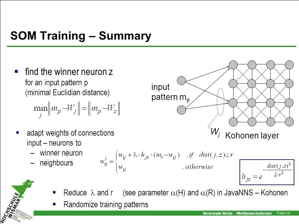 Neuronale Netze - Wettbewerbslernen Folie 13 SOM Training – Summary find the winner neuron z for an input pattern p (minimal Euclidian distance) adapt