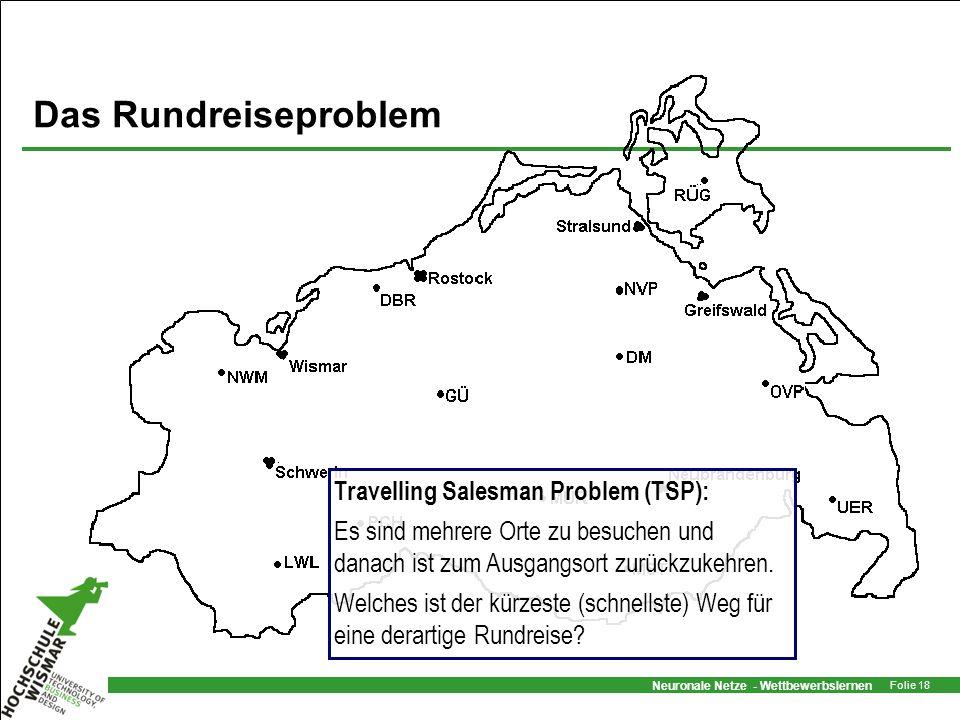 Neuronale Netze - Wettbewerbslernen Folie 18 Das Rundreiseproblem Travelling Salesman Problem (TSP): Es sind mehrere Orte zu besuchen und danach ist z
