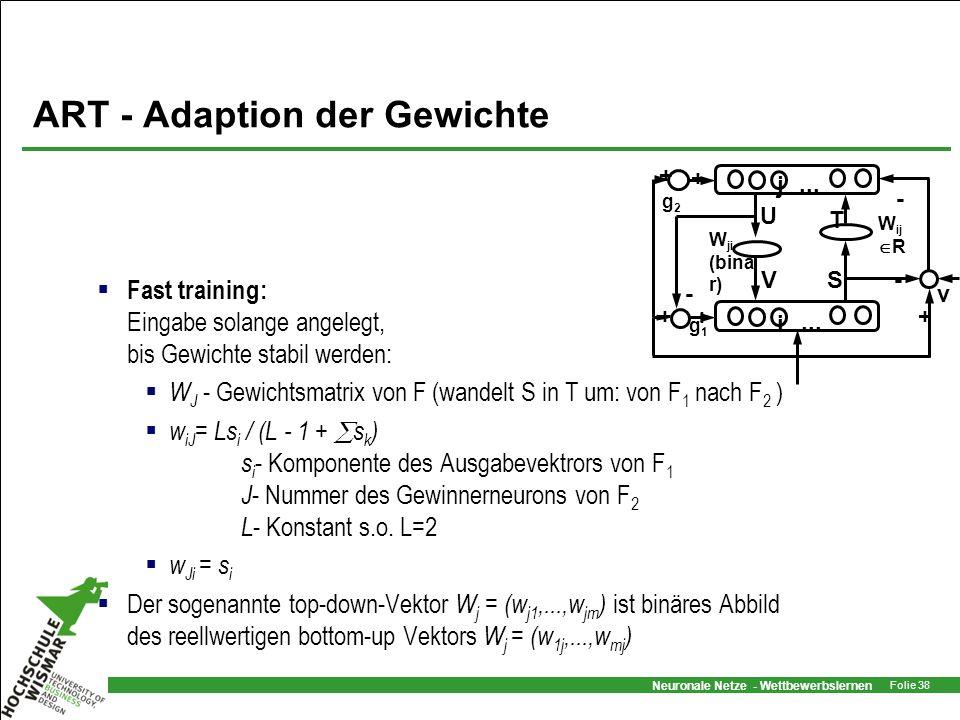 Neuronale Netze - Wettbewerbslernen Folie 38 ART - Adaption der Gewichte Fast training: Eingabe solange angelegt, bis Gewichte stabil werden: W J - Ge