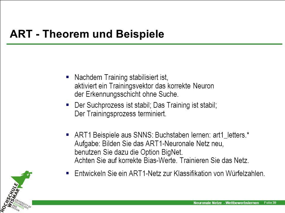 Neuronale Netze - Wettbewerbslernen Folie 39 ART - Theorem und Beispiele Nachdem Training stabilisiert ist, aktiviert ein Trainingsvektor das korrekte