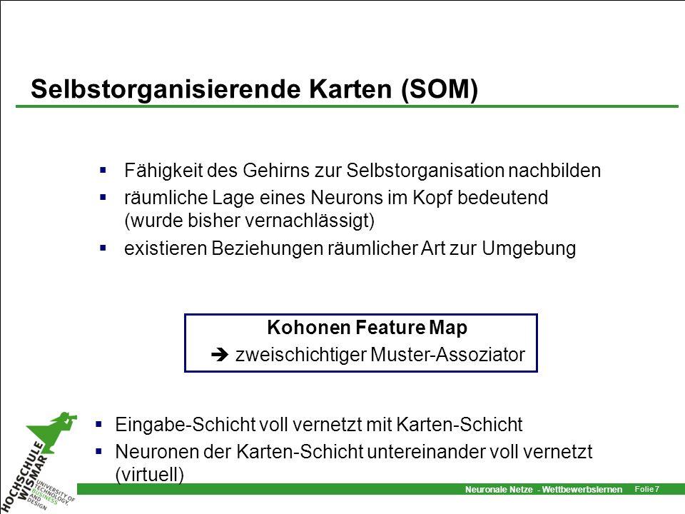 Neuronale Netze - Wettbewerbslernen Folie 7 Selbstorganisierende Karten (SOM) Fähigkeit des Gehirns zur Selbstorganisation nachbilden räumliche Lage e
