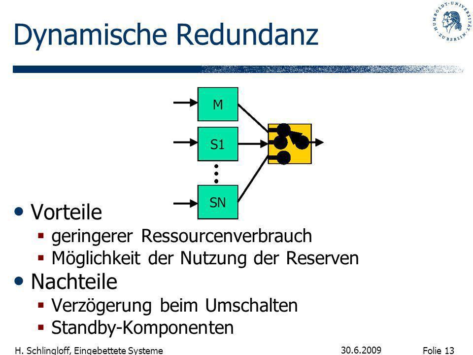 Folie 13 H. Schlingloff, Eingebettete Systeme 30.6.2009 Dynamische Redundanz Vorteile geringerer Ressourcenverbrauch Möglichkeit der Nutzung der Reser