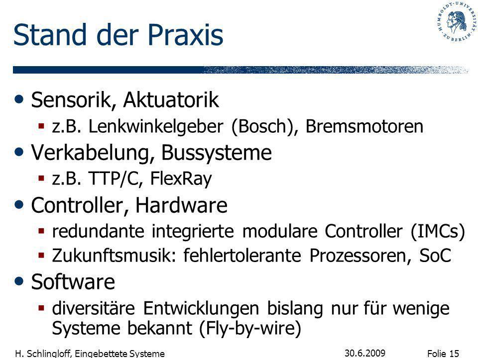 Folie 15 H. Schlingloff, Eingebettete Systeme 30.6.2009 Stand der Praxis Sensorik, Aktuatorik z.B. Lenkwinkelgeber (Bosch), Bremsmotoren Verkabelung,
