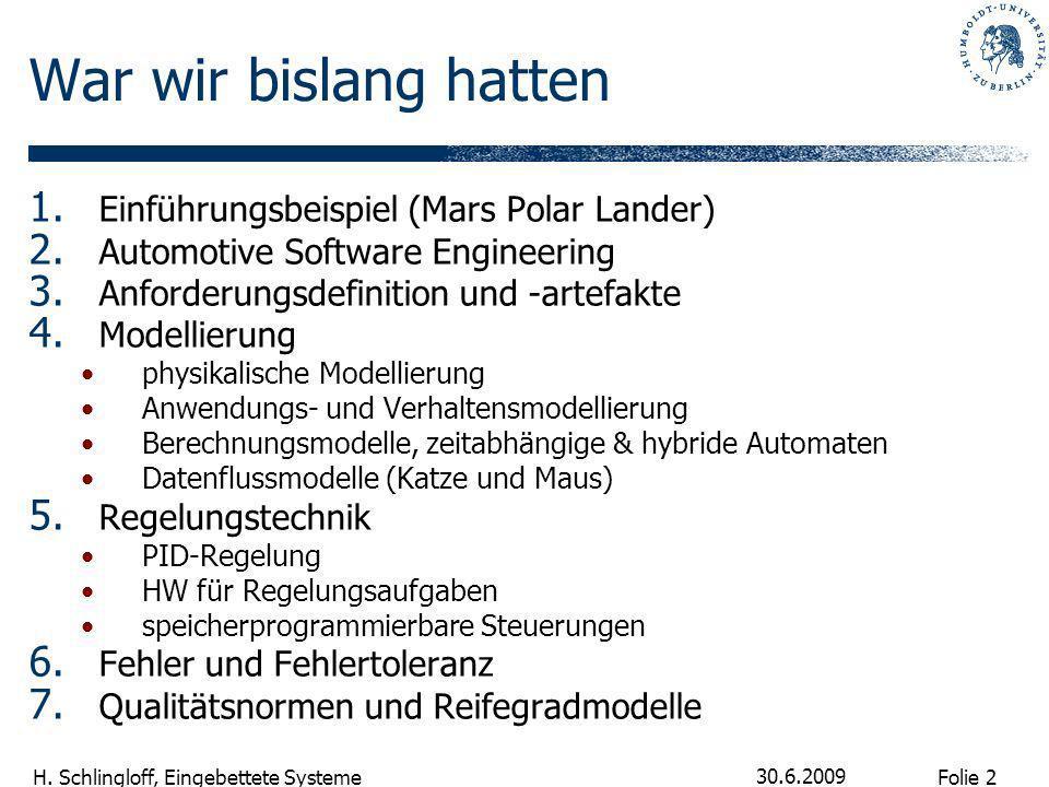 Folie 2 H. Schlingloff, Eingebettete Systeme 30.6.2009 War wir bislang hatten 1. Einführungsbeispiel (Mars Polar Lander) 2. Automotive Software Engine
