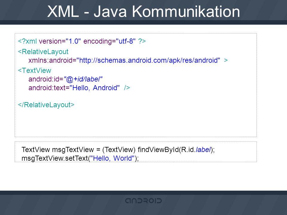 XML - Java Kommunikation TextView msgTextView = (TextView) findViewById(R.id.label); msgTextView.setText(
