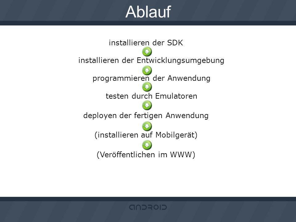 Ablauf installieren der SDK installieren der Entwicklungsumgebung programmieren der Anwendung testen durch Emulatoren deployen der fertigen Anwendung