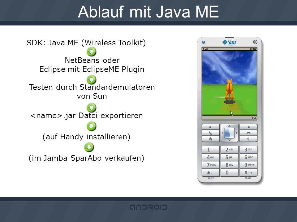 Ablauf mit Java ME SDK: Java ME (Wireless Toolkit) NetBeans oder Eclipse mit EclipseME Plugin Testen durch Standardemulatoren von Sun.jar Datei export