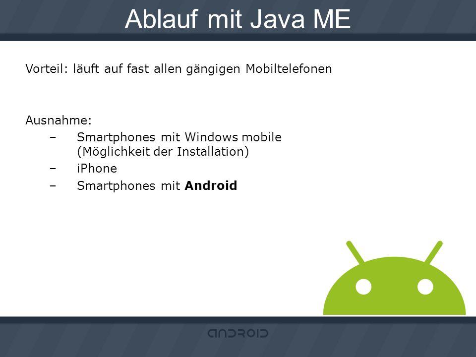 Ablauf mit Java ME Vorteil: läuft auf fast allen gängigen Mobiltelefonen Ausnahme: –Smartphones mit Windows mobile (Möglichkeit der Installation) –iPh