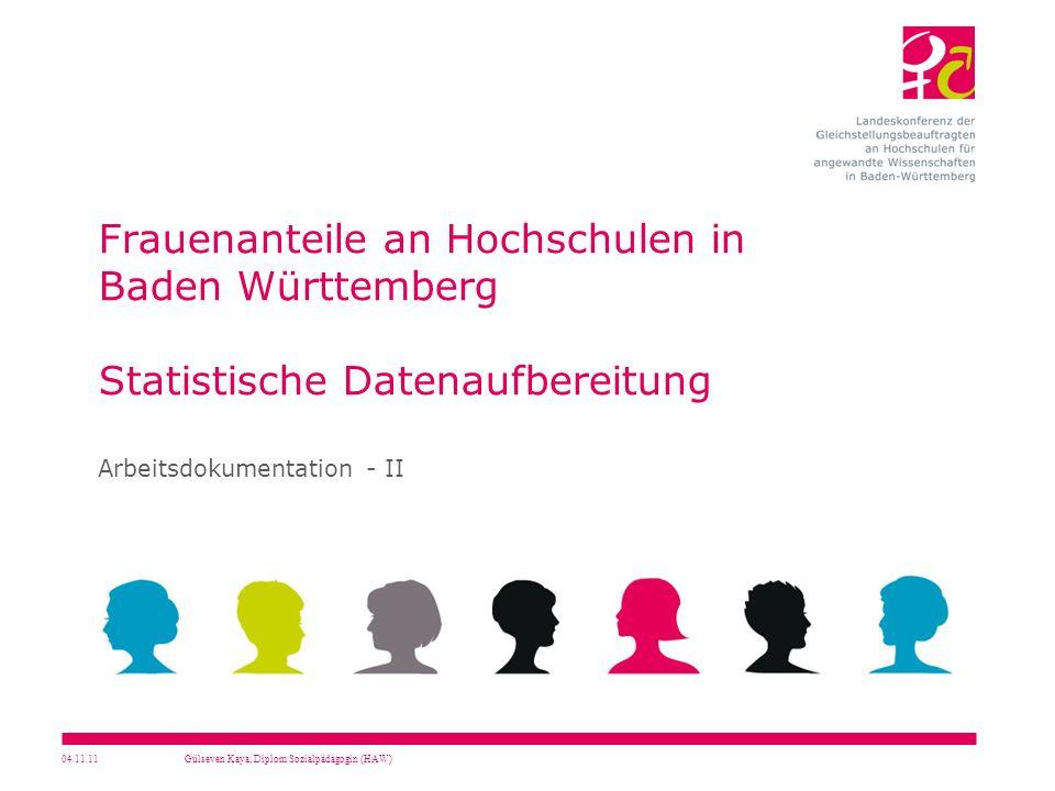 04.11.11Gülseven Kaya, Diplom Sozialpädagogin (HAW) Frauenanteile an Hochschulen in Baden Württemberg Statistische Datenaufbereitung Arbeitsdokumentat