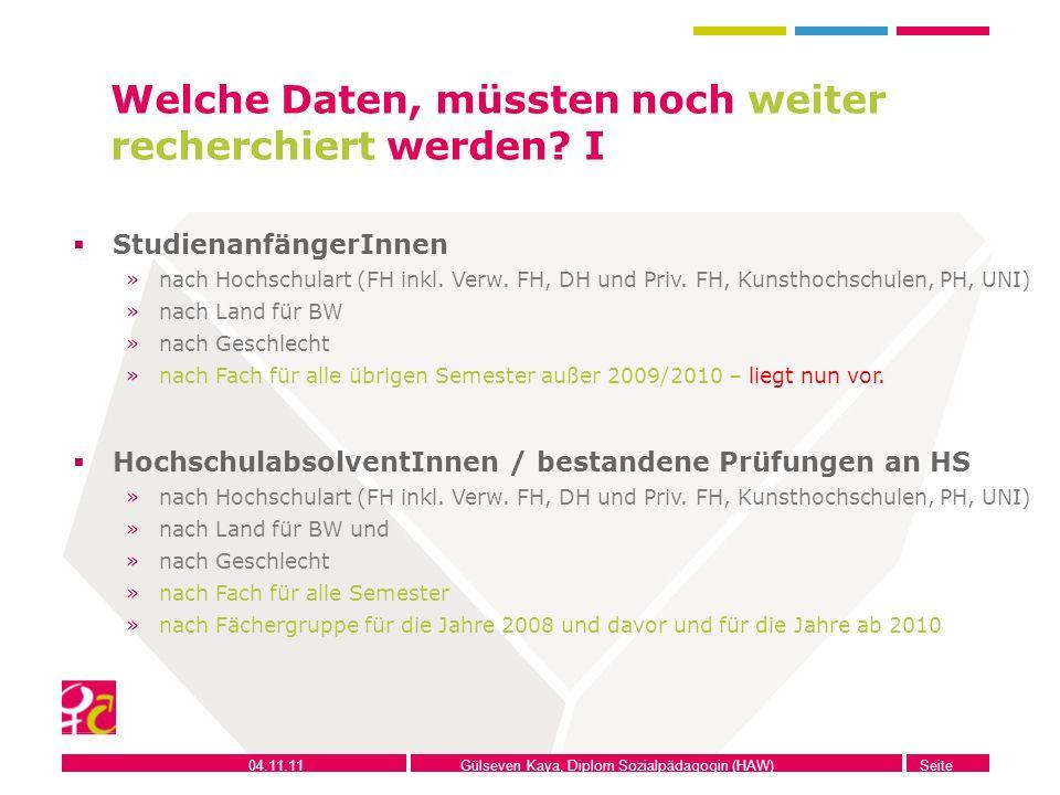 04.11.11Gülseven Kaya, Diplom Sozialpädagogin (HAW)Seite 10 Welche Daten, müssten noch weiter recherchiert werden? I StudienanfängerInnen »nach Hochsc