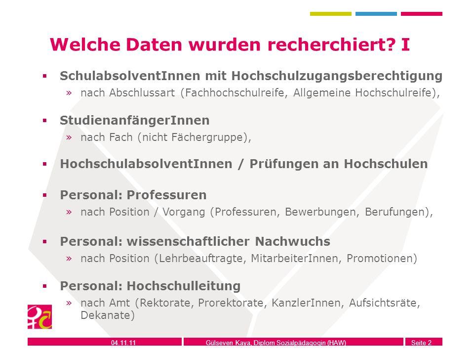 04.11.11Gülseven Kaya, Diplom Sozialpädagogin (HAW)Seite 2 Welche Daten wurden recherchiert? I SchulabsolventInnen mit Hochschulzugangsberechtigung »n