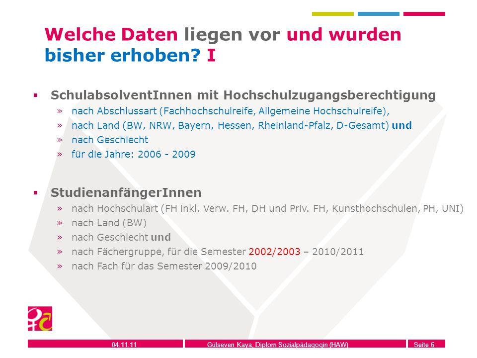 04.11.11Gülseven Kaya, Diplom Sozialpädagogin (HAW)Seite 6 Welche Daten liegen vor und wurden bisher erhoben? I SchulabsolventInnen mit Hochschulzugan