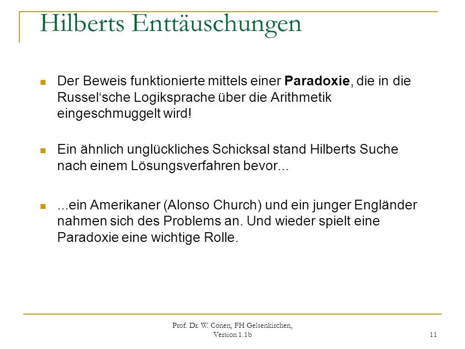 Prof. Dr. W. Conen, FH Gelsenkirchen, Version 1.1b 11 Hilberts Enttäuschungen Der Beweis funktionierte mittels einer Paradoxie, die in die Russelsche