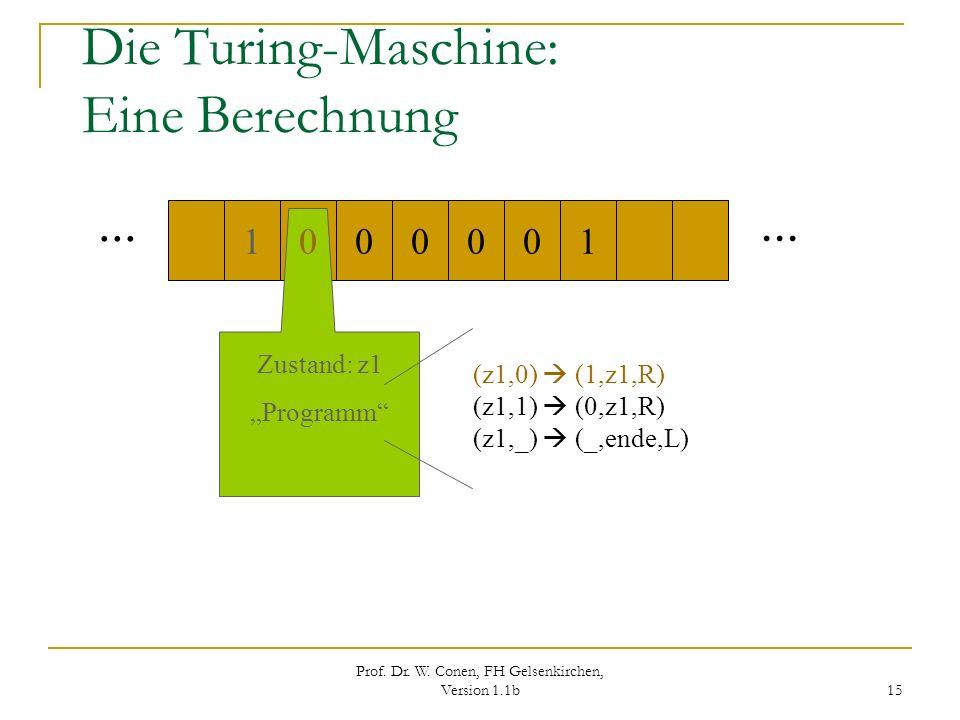 Prof. Dr. W. Conen, FH Gelsenkirchen, Version 1.1b 15 Die Turing-Maschine: Eine Berechnung... 000100 1 Zustand: z1 Programm (z1,0) (1,z1,R) (z1,1) (0,