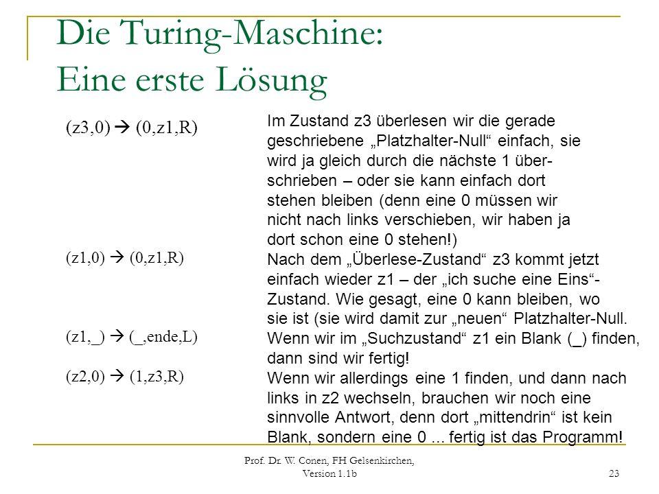 Prof. Dr. W. Conen, FH Gelsenkirchen, Version 1.1b 23 Die Turing-Maschine: Eine erste Lösung (z3,0) (0,z1,R) (z1,0) (0,z1,R) (z1,_) (_,ende,L) (z2,0)