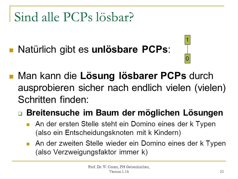Prof. Dr. W. Conen, FH Gelsenkirchen, Version 1.1b 35 Sind alle PCPs lösbar? Natürlich gibt es unlösbare PCPs: Man kann die Lösung lösbarer PCPs durch