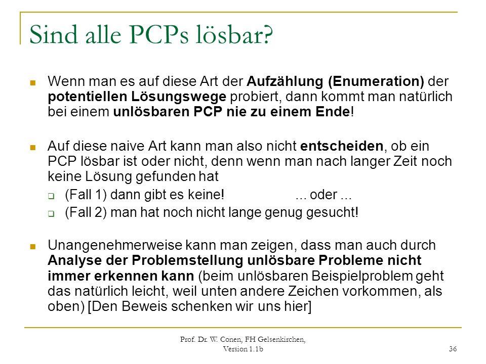 Prof. Dr. W. Conen, FH Gelsenkirchen, Version 1.1b 36 Sind alle PCPs lösbar? Wenn man es auf diese Art der Aufzählung (Enumeration) der potentiellen L