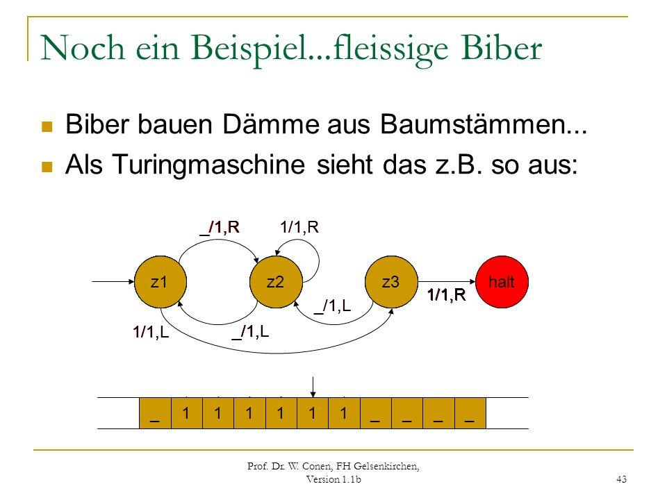 Prof. Dr. W. Conen, FH Gelsenkirchen, Version 1.1b 43 Noch ein Beispiel...fleissige Biber Biber bauen Dämme aus Baumstämmen... Als Turingmaschine sieh
