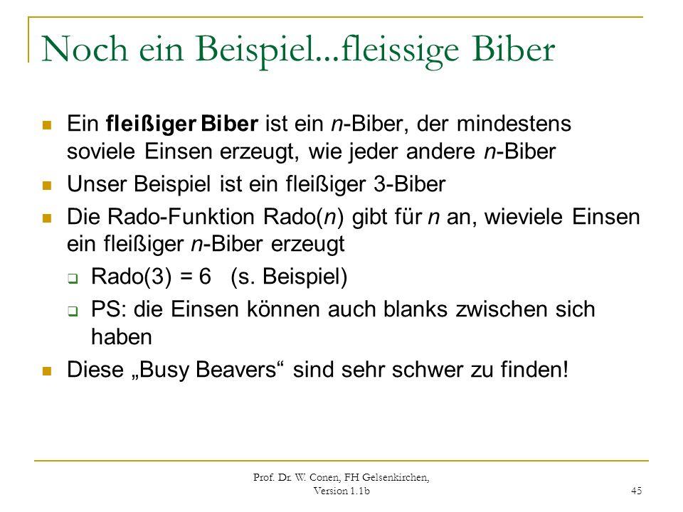 Prof. Dr. W. Conen, FH Gelsenkirchen, Version 1.1b 45 Noch ein Beispiel...fleissige Biber Ein fleißiger Biber ist ein n-Biber, der mindestens soviele