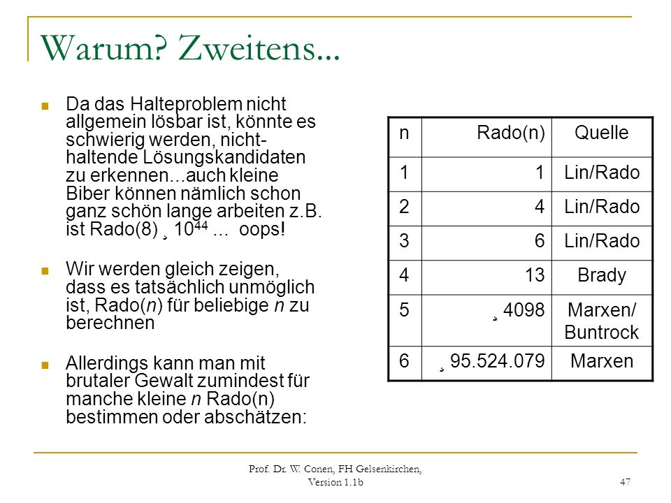 Prof. Dr. W. Conen, FH Gelsenkirchen, Version 1.1b 47 Warum? Zweitens... Da das Halteproblem nicht allgemein lösbar ist, könnte es schwierig werden, n