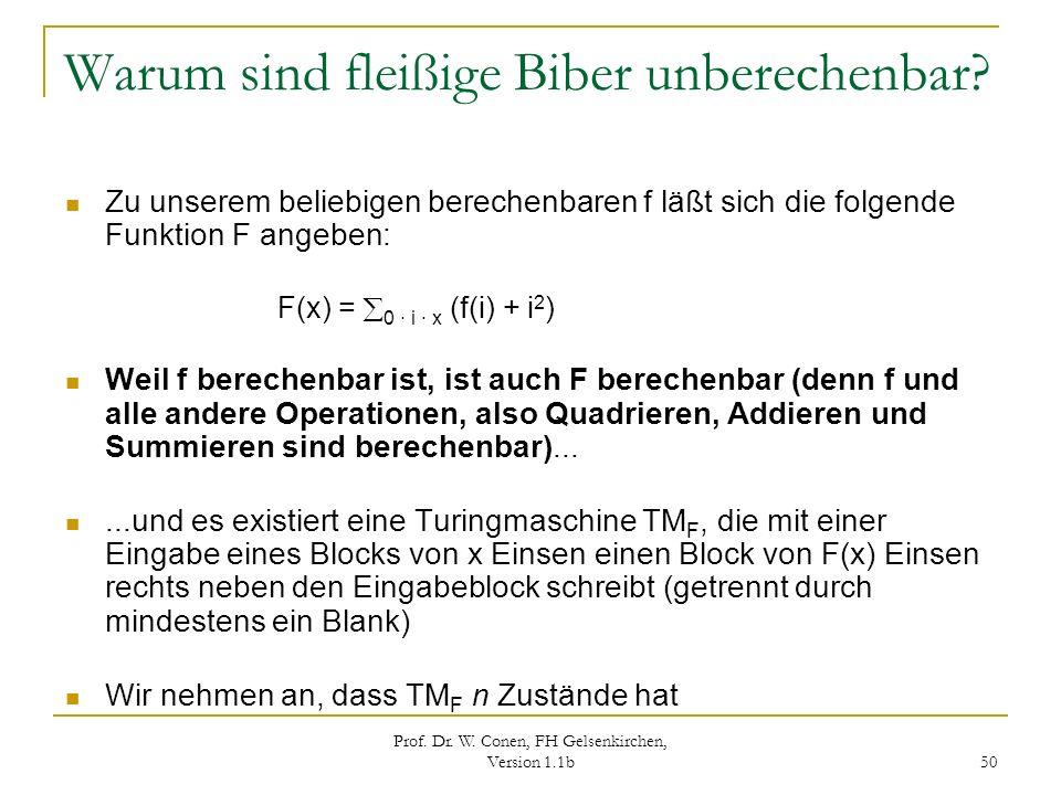 Prof. Dr. W. Conen, FH Gelsenkirchen, Version 1.1b 50 Warum sind fleißige Biber unberechenbar? Zu unserem beliebigen berechenbaren f läßt sich die fol