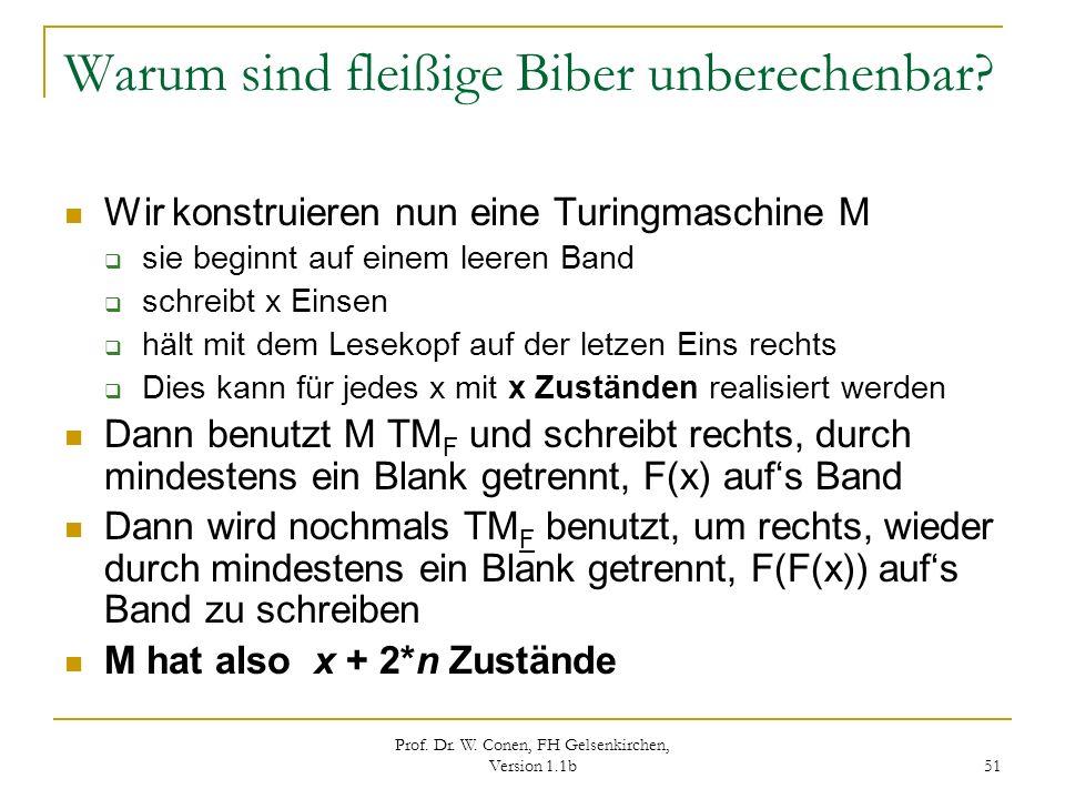 Prof. Dr. W. Conen, FH Gelsenkirchen, Version 1.1b 51 Warum sind fleißige Biber unberechenbar? Wir konstruieren nun eine Turingmaschine M sie beginnt