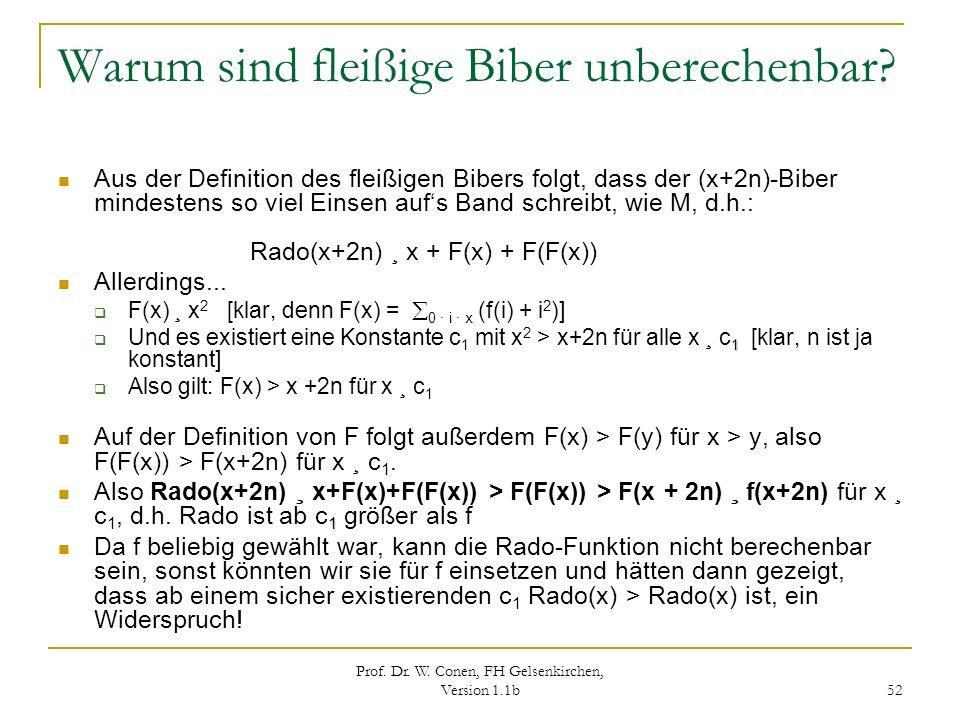 Prof. Dr. W. Conen, FH Gelsenkirchen, Version 1.1b 52 Warum sind fleißige Biber unberechenbar? Aus der Definition des fleißigen Bibers folgt, dass der