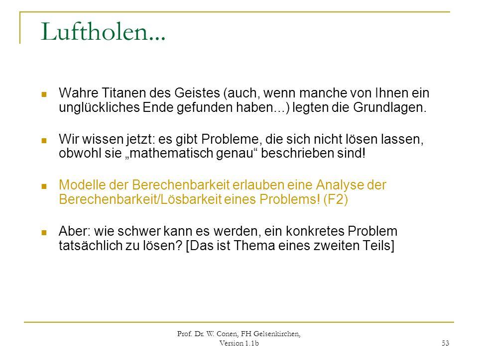 Prof. Dr. W. Conen, FH Gelsenkirchen, Version 1.1b 53 Luftholen... Wahre Titanen des Geistes (auch, wenn manche von Ihnen ein unglückliches Ende gefun