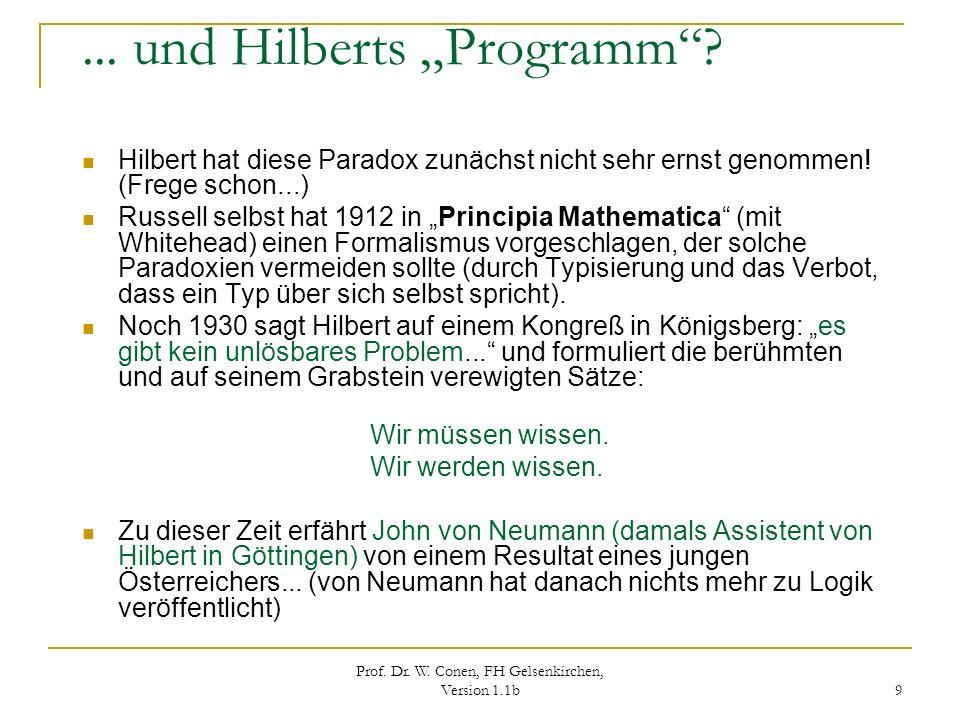 Prof. Dr. W. Conen, FH Gelsenkirchen, Version 1.1b 9... und Hilberts Programm? Hilbert hat diese Paradox zunächst nicht sehr ernst genommen! (Frege sc