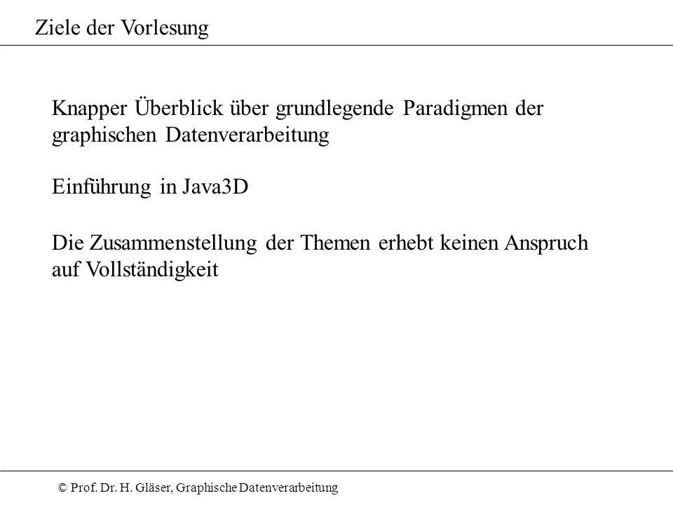 © Prof. Dr. H. Gläser, Graphische Datenverarbeitung Ziele der Vorlesung Knapper Überblick über grundlegende Paradigmen der graphischen Datenverarbeitu